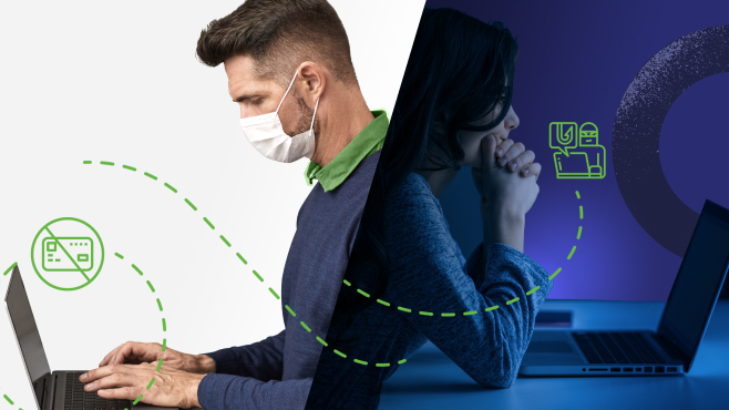 Man with surgical mask on infront of a bright background works on laptop with flip image of financial crime criminal in the dark working on a laptop