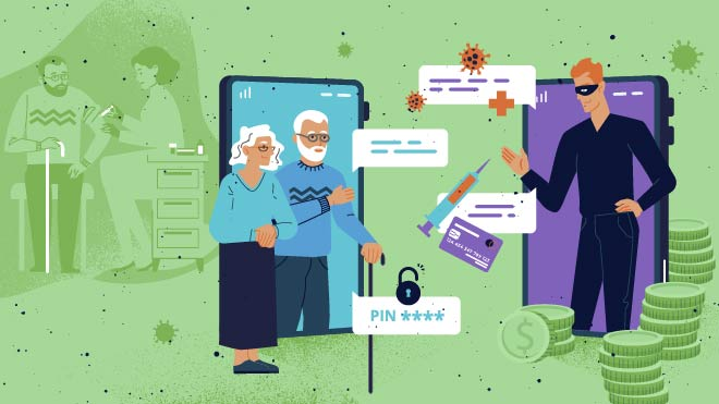 Illustration of fraudsters using social engineering to push vaccine fraud