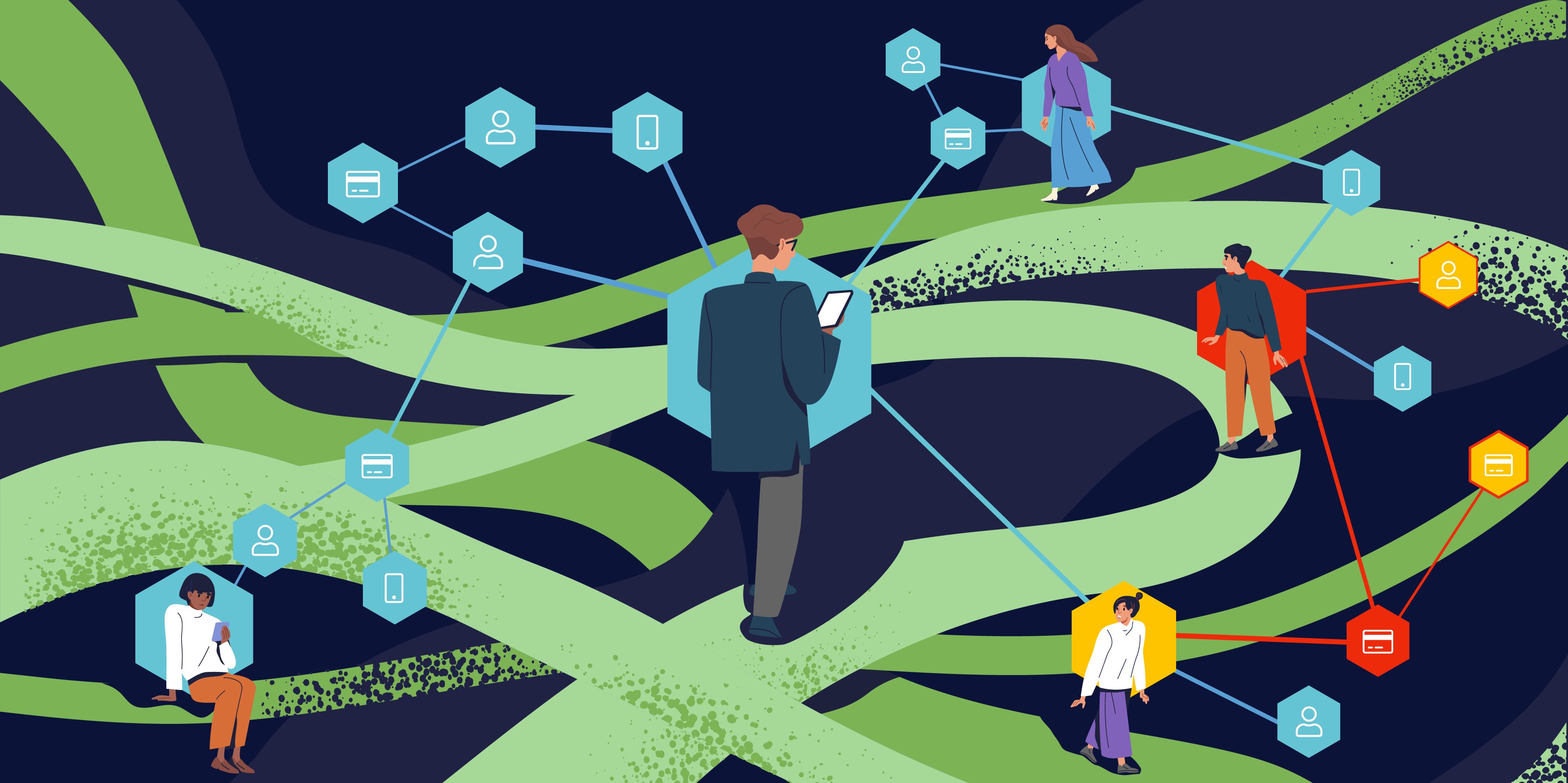 Illustration of Feedzai Genome visually detecting fraud