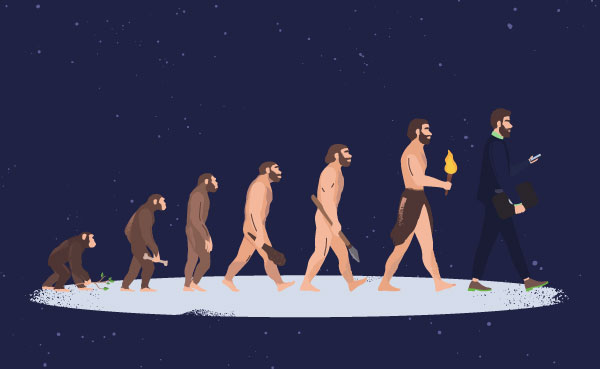 Person evolving with technology