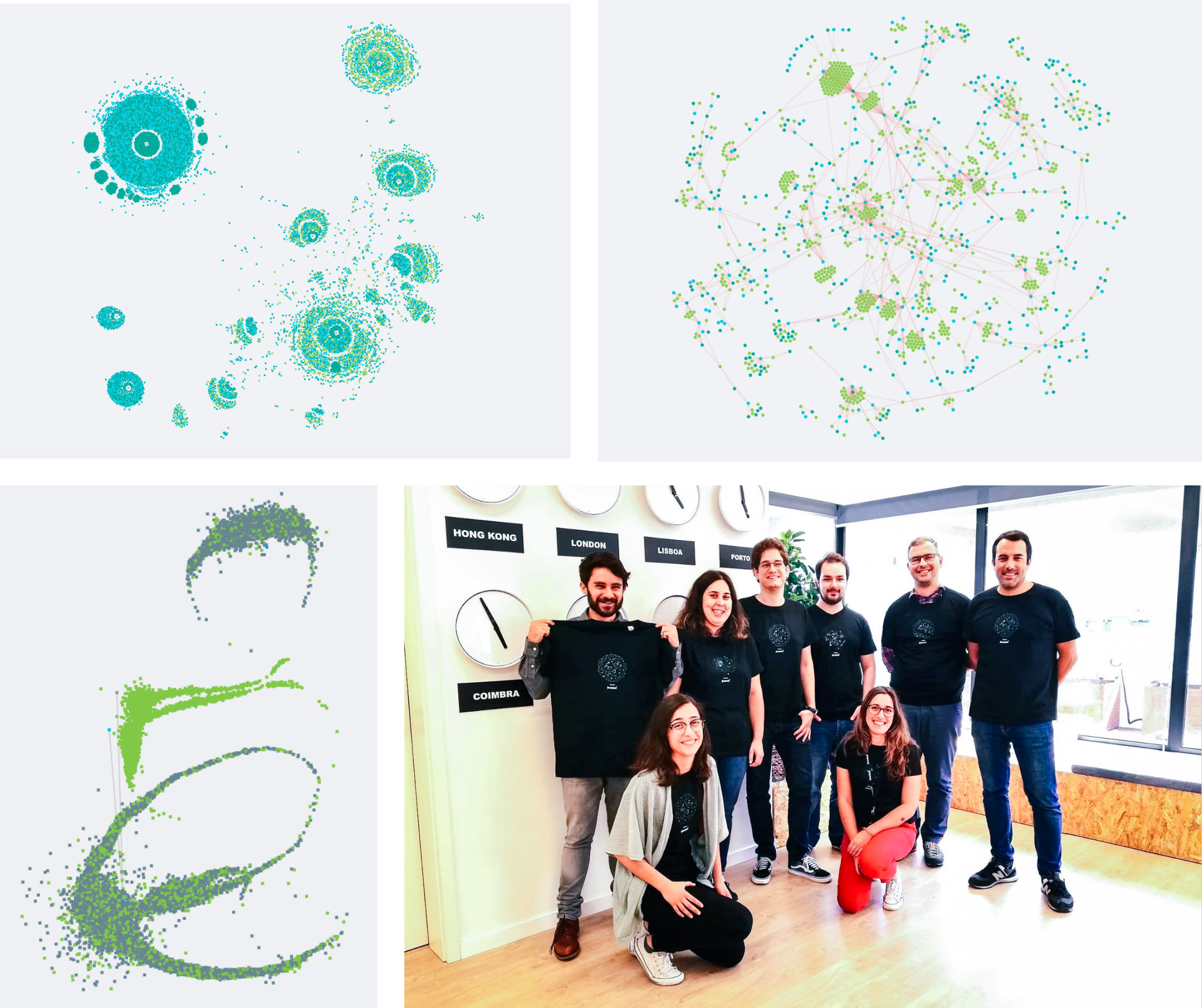 3 pictures of Genome data art, and a picture of people wearing matching shirts