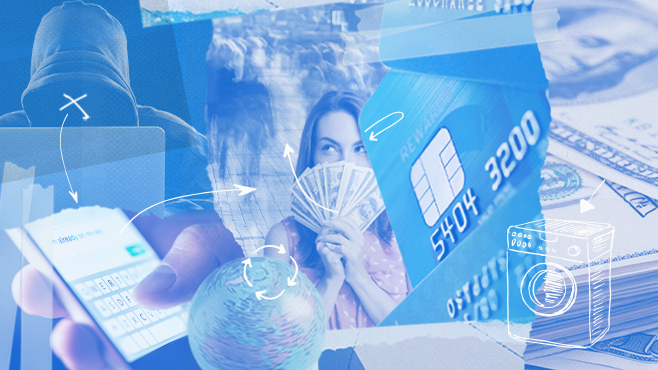 Images of prepaid cards used to launder money with money mules